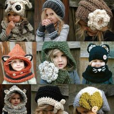 Adorable kids knit hats- also lots of great pins below in the 'people who pinned this also pinned' section