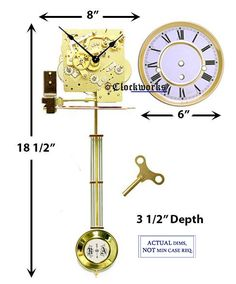 A Westminster chime, spring driven clock movement kit, ideal for a wall clock. Wooden Gear Clock, Wooden Gears, Grandfather Clock Kits, Mechanical Wall Clock, Wall Clock Kits, Clock Repair, Bolts And Washers, Pendulum Clock, Clock Movements