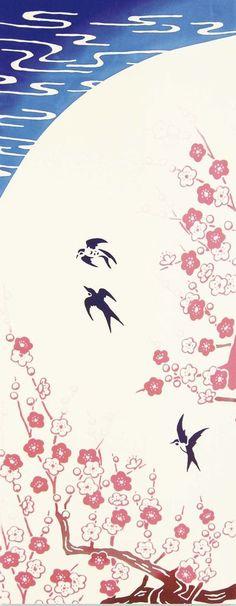 日本手ぬぐいタオルの綿生地梅飲み込む鳥日本の伝統的なデザイン手染め生地アート壁布家の装飾k168 by JapanLovelyCrafts
