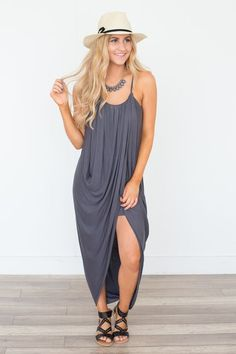 Our Gathered Front Maxi Dress In Charcoal Free Shipping On All Us Orders