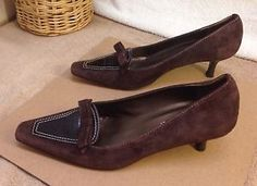 Mila Paoli Italy Women's Brown Suede Croc Leather Bow Kitten Heels Shoes 7.5M