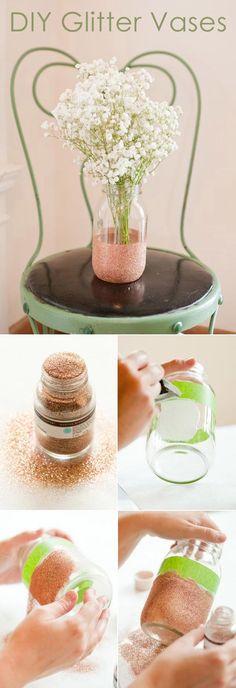 diy wedding centerpieces with glitter mason jar vases