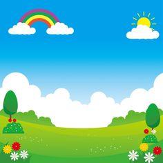 Landscape Vector Illustration With Funny Design Suitable For Kids Background Kids Background, Landscape Background, Cartoon Background, Vector Background, Background Images, Sunny Images, Fruits Decoration, Certificate Background, Plant Cartoon