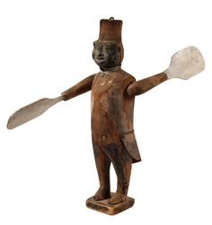 """Blackmoor Whirly-Gig - Standing Wooden Figure with Fez, black painted tin face, tin 'collar' & 'tailcoat', softwood with remnants of paint. Late 19th c. 18"""" tall. Made in Ohio"""