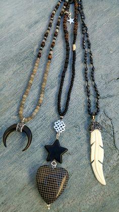 Ketten lang - Kette ❉ Horn - Labradorit - Ebenholz - ein Designerstück von charm_one bei DaWanda