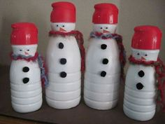 Snowman with coffee creamer contai ner