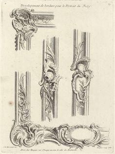 Sixième Livre de l'Oeuvre (de Meissonnier), projets de cadres: vijfde blad, Juste Aurèle Meissonnier, Gabriel Huquier, Gabriel Huquier, 1733