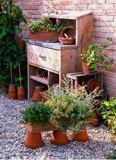 Outdoor potting station, cedar with zinc top, easy to do my hubby made me one .and then had to make 3 more for friends.