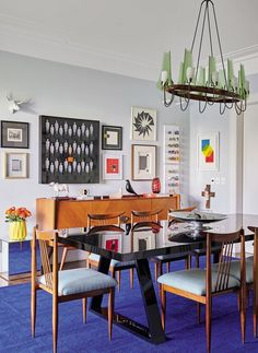 sala-jantar-tapete-azul (Foto: Victor Affaro)