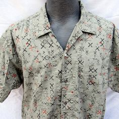 Patagonia Organic Cotton Hawaiian Shirt Size Large Button Up Geometric Shapes #ReynSpooner #ButtonFront