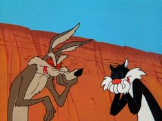 looney tunes sylvester & wile e. Looney Tunes Characters, Classic Cartoon Characters, Looney Tunes Cartoons, Favorite Cartoon Character, Classic Cartoons, Good Cartoons, Funny Cartoons, Animated Emoticons, Animated Gif