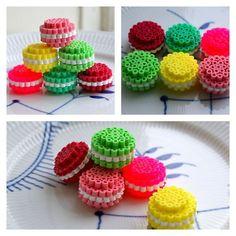 Macarons hama beads by Anne-Mette Storgaard Pixel Beads, 3d Perler Bead, Hama Beads Design, Diy Perler Beads, Fuse Beads, Pearler Beads, Melty Bead Patterns, Pearler Bead Patterns, Beading Patterns