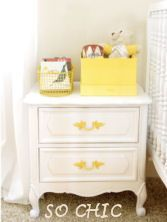 recycled nursery furniture painted table drawer pulls knobs hardware. love the yellow handles.