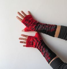 Wool Fingerless Gloves/ Mittens.  Handmade - Etsy.  $37.00.  I bought these to match that stunning scarf!