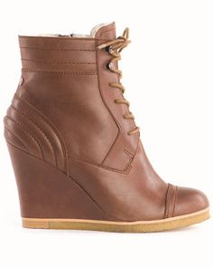 FLARE pick: Emu Australia brown leather and shearling lace up wedge boot, $269