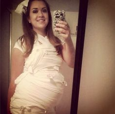 Pregnant Mummy Take a page from Jessica Simpson's pregnancy announcement — this pregnant mummy costume is easy and fun. Plus, who doesn't have an extra roll of toilet paper lying around?