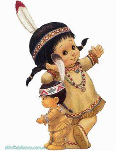 Thanksgiving Greetings, Vintage Thanksgiving, Thanksgiving Crafts, Thanksgiving Pictures, Native American Children, Native American Art, Whimsical Art, Cute Illustration, Precious Moments