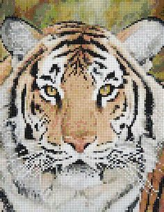 TigerFace  This is a beautiful seed bead loom pattern part of the series on big cats. It is 100 columns wide and 129 rows, it is done with Delica seed beads and contains 12,900 beads.