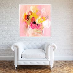 """Abstract floral Painting Print """"Tulips for lunch 4"""" Large Wall Art pink and white artwork"""