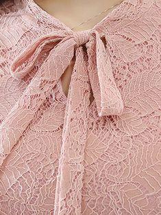 Pink Elegant Guipure Lace Tie-neck Swing Dress