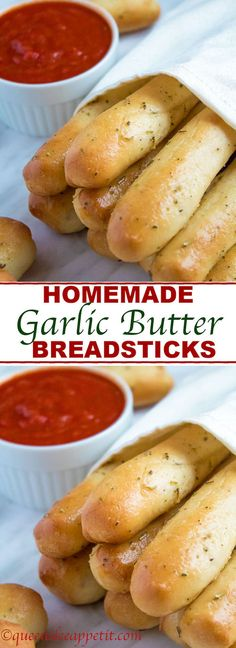 These Homemade Garlic Butter Breadsticks are incredibly soft, fluffy and buttery. They& so simple to make and are a great addition to all your meals! Bread Machine Recipes, Bread Recipes, Cooking Recipes, Butter Bread Recipe, Breadstick Recipe Bread Machine, Cooking Tips, Savoury Recipes, Salads, Recipes