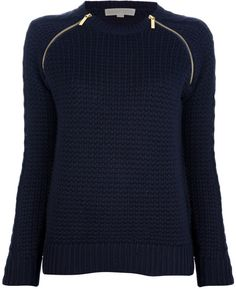 navy blue sweater with gold zippers on sholders | Michael By Michael Kors Zip Detail Sweater in Blue - Lyst