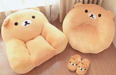 Kawaii Rilakkuma Seats and Home Slippers ~ I love the round seat!     #rilakkuma #cute #kawaii
