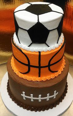Have a serious sports fan in your house? Wow them with one of our many sports themed cakes. They won't want to cut the cake. Sports Birthday Cakes, Sports Themed Cakes, Sports Themed Birthday Party, Cool Birthday Cakes, Sports Party, Birthday Ideas, 7th Birthday, 40th Birthday Quotes, 50th Birthday Gag Gifts