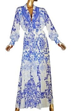 Victoria. Silk dress pretty blue flowers.
