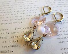RePurposed VinTage Jewelry Earrings PinK Crystal by stephsjewels4, $15.00