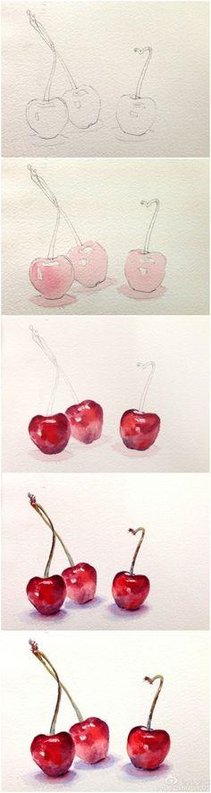 DIY Des cerises à l'aquarelle. (watercolor painting ideas cherry) (http://homesthetics.net/expand-your-knowledge-with-watercolor-painting-ideas/)