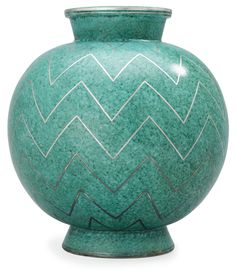"@@ Wilhelm Kåge (Swedish, 1889-1960) Gustavsberg Studio, ""Argenta"" Decorated Stoneware. Glass Ceramic, Ceramic Pottery, Stig Lindberg, Aqua, Teal, Turquoise, Swedish Design, Ceramic Artists, Stoneware"