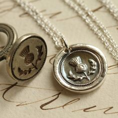 Scottish Thistle Wax Seal Necklace Fine Silver by Englady on Etsy Scotch, Antique Wax, Scottish Thistle, White Freshwater Pearl, Argent Sterling, Wax Seals, Metal Clay, Sterling Silver Chains, Lady