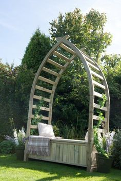 The Whitby Arbour from Forest Gardens has been inspired by the iconic whalebone arch on Whitby's sea front and will therefore create a fantastic focal point in any garden. Arbour Seat, Arbor Bench, Garden Buildings, Garden Structures, Outdoor Structures, Wooden Arbor, Forest Garden, Garden Oasis, Unique Gardens
