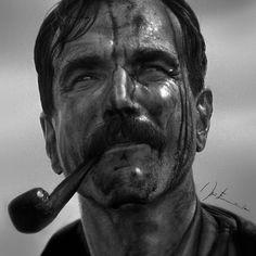 Daniel Plainview - Sangue Negro - Grafite, carvão e lápis de cor