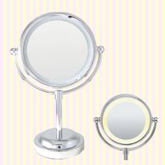 LED Lighted Makeup Mirror(M) with 3x magnifier LED 라이트 탁상거울(중/3x 확대경 겸용)