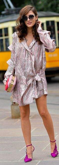 Pink Multi Shiny Python Print Ruffle Detail Mini Dress, love the dress too Party Fashion, Girl Fashion, Fashion Looks, Style Fashion, Cavalli Dress, Sexy Legs And Heels, Python Print, Daily Dress, Pretty Dresses