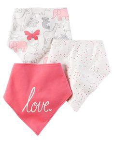 Baby Girl 3-Pack Bandana Bibs