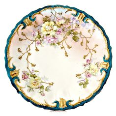 Antique  Limoges France Cabinet Plate Pink Roses Teal