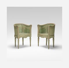 18th Century / armchairs, pair. Sweden. polychromed wood 21.5 w x 18 d x 30.25 h inches < Blackman Cruz, 21 April 2015 < Auctions | Wright