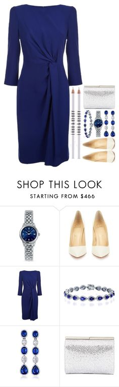 """Melania's Inauguration Look"" by makfashions ❤ liked on Polyvore featuring Longines, Christian Louboutin, Armani Collezioni, VanLeles, Jimmy Choo and Lord & Berry"