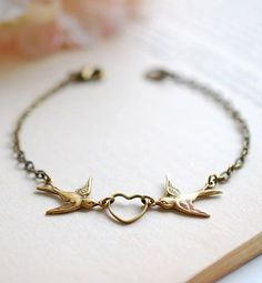 Love Bird Bracelet. Antiqued Brass Swallow Bird