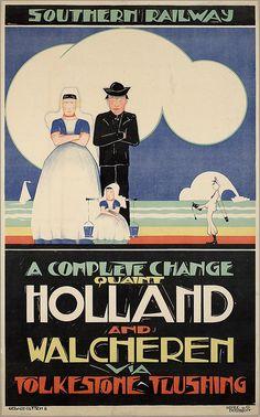 Southern Railway. A Complete change quaint Holland and Walcheren via Folkstone-Flushing. 1924-1925 ontwerper/artdirector: Rutten, Gerard