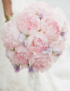 Simple bouquet of Peonies and Sweet Peas