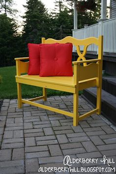 Awesome Bench made from an old headboard (back) and footboard cut in half (sides)