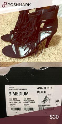 Black fringe heels! Size 9, brand new!! Shoes Heels
