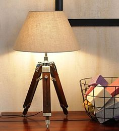 WOODEN TRIPOD TABLE LAMP FOR LIVING ROOM * Check Out This Great Product.