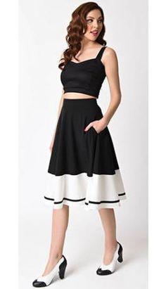 bdfcf7c71fb4 Steady 1950s Style Black & White Contrast Thrills Swing Skirt Swing Skirt,  1950s Style,