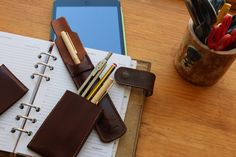 Leather Pen Case, Handmade, original desing Ludena, strong leather, Fits 4 Pens.