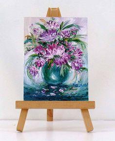 Purple and pink Flowers. 3x4 original miniature oil